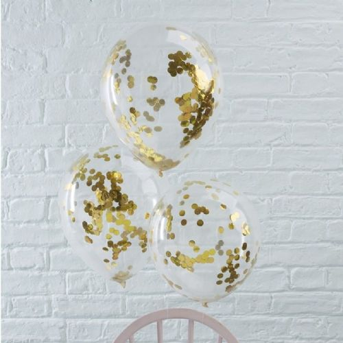 "Pick & Mix Gold Confetti Balloons - 12"" Latex (5pk)"